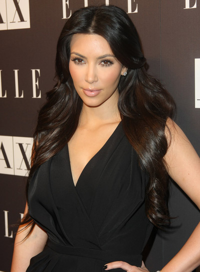 Kim Kardashian Long, Brunette Hairstyle for Oval Faces