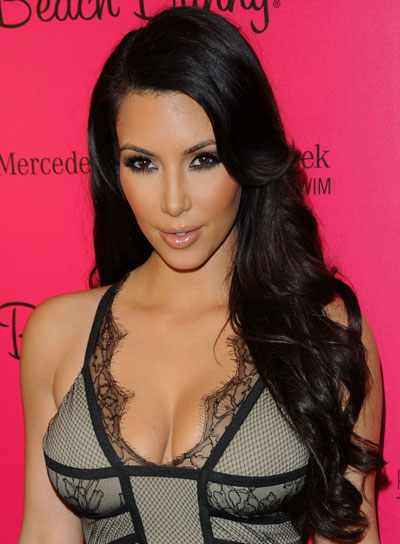 Kim Kardashian Long, Curly, Black Hairstyle
