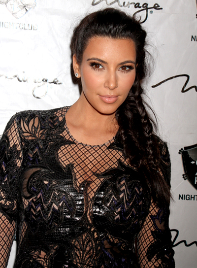 Kim Kardashian's Long, Tousled, Brunette Hairstyle with Braids and Twists