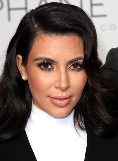 Kim Kardashian's Long, Wavy, Tousled, Black Hairstyle
