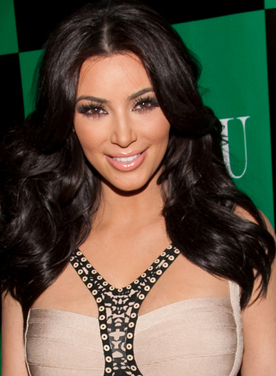 Kim Kardashian Medium, Romantic, Wavy, Black Hairstyle