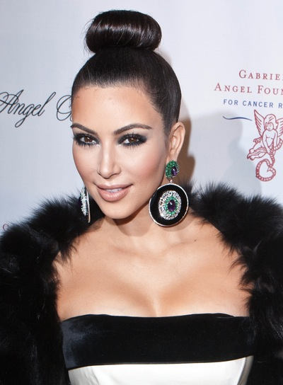 Kim Kardashian Chic, Formal, Black, Wedding Updo
