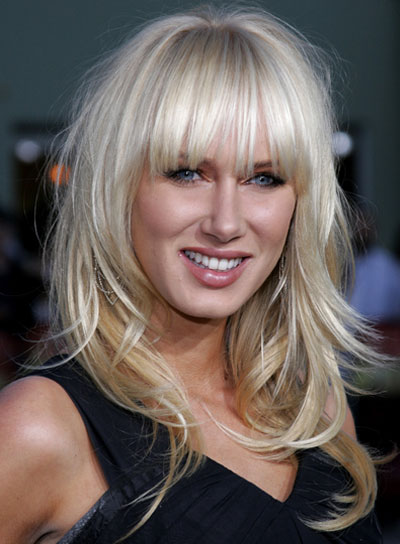 Kimberly Stewart Long, Straight, Tousled, Blonde Hairstyle with Bangs