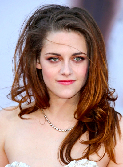 Kristen Stewart's Brunette, Long, Tousled, Party Hairstyle