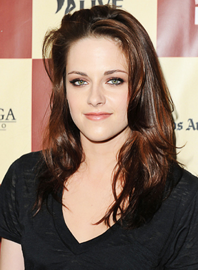 Kristen Stewart Sexy, Tousled, Red Hairstyle with Highlights