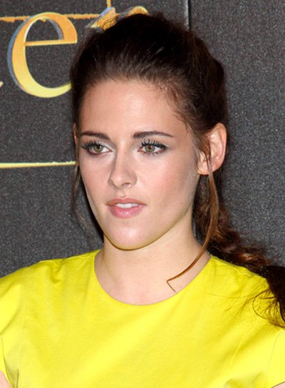 Kristen Stewart's Long, Brunette, Updo, Hairstyle with Braids and Twists