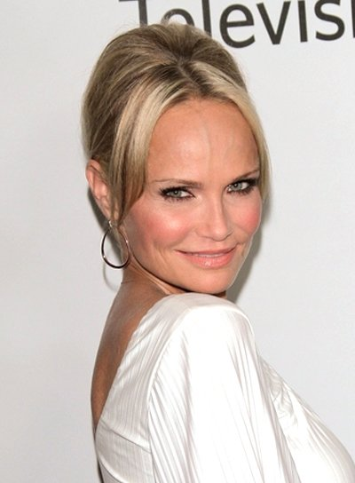 Kristin Chenoweth Chic, Romantic, Blonde, Prom Updo with Bangs