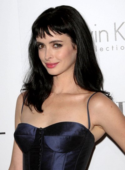 Krysten Ritter's Long, Tousled, Black, Hairstyle with Bangs