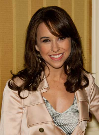 Lacey Chabert Medium, Curly, Brunette Hairstyle with Bangs