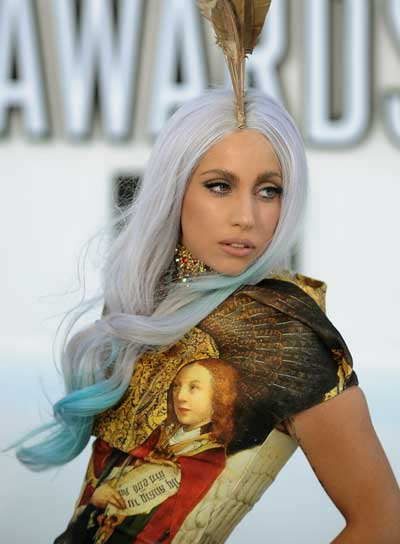 Lady Gaga Long, Curly, Funky Hairstyle