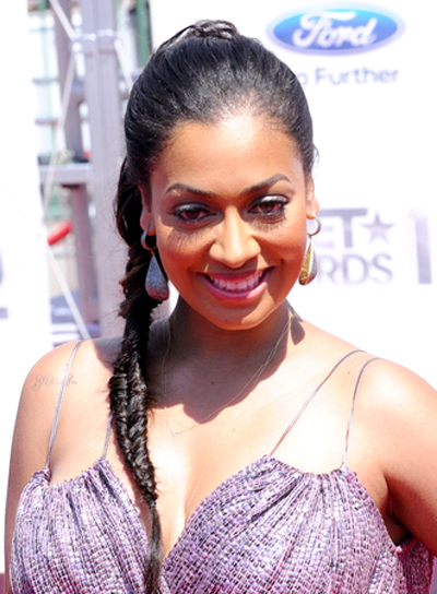 LaLa Vazquez's Long, Brunette, Ponytail Hairstyle with Braids and Twists