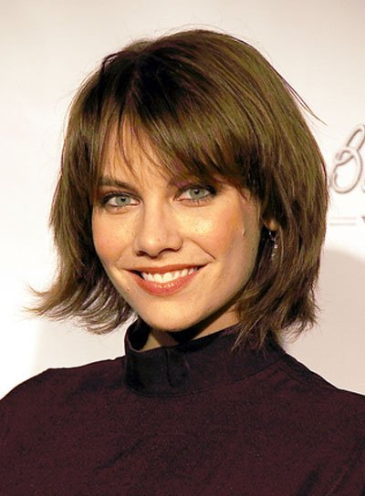 Lauren Cohan Short, Layered, Edgy, Brunette Bob with Bangs