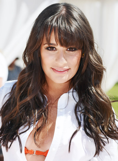 Lea Michele with a Long, Wavy, Romantic Hairstyle with Bangs Pictures