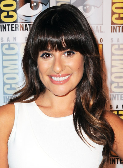 Lea Michele's Long, Brunette, Wavy, Prom Hairstyle With Bangs