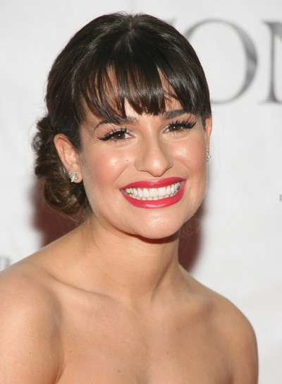 Lea Michele Chic, Brunette Updo with Bangs