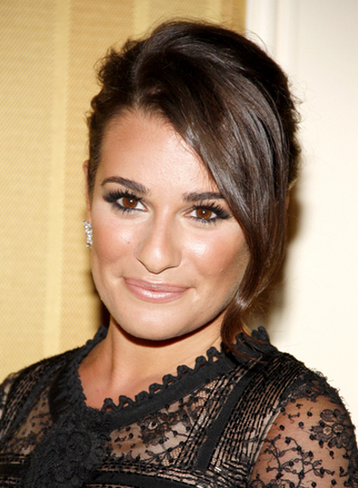 Lea Michele's Brunette, Romantic, Chic, Updo Hairstyle
