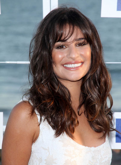 Lea Michele Long, Wavy, Tousled, Brunette Hairstyle with Bangs