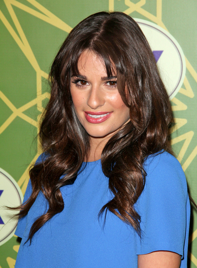 Lea Michele Long, Curly, Party, Brunette Hairstyle with Bangs