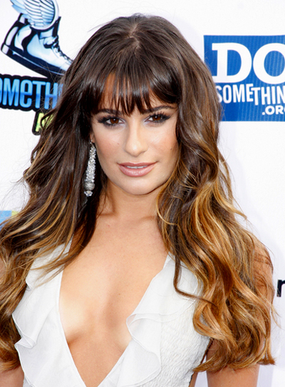 Lea Michele's Long, Sexy, Wavy Hairstyle with Bangs