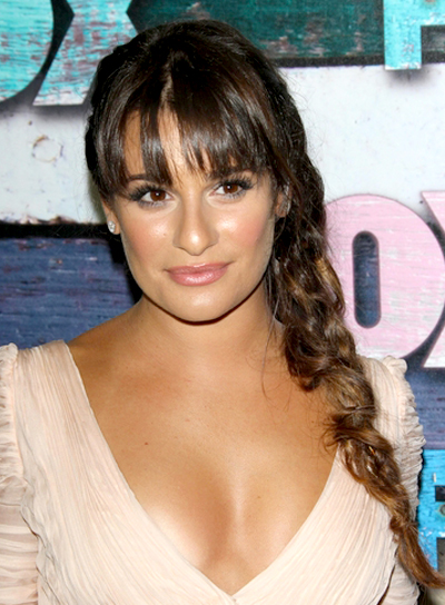 Lea Michele's Long, Tousled, Ponytail Hairstyle with Braids and Twists