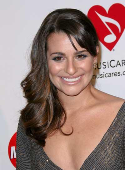 Lea Michele Medium, Sexy, Romantic, Brunette Hairstyle
