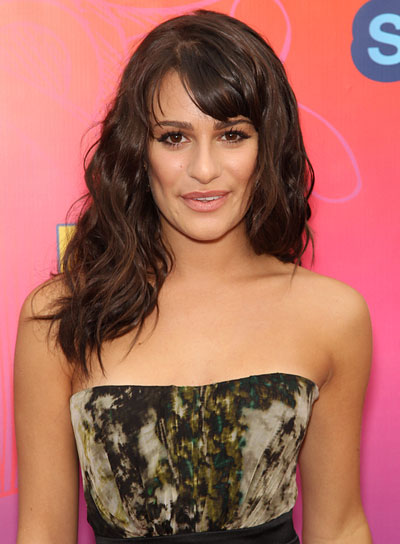 Lea Michele Wavy, Brunette Hairstyle with Bangs