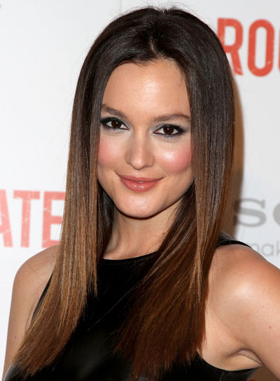 Leighton Meester Long, Straight, Chic, Brunette Hairstyle