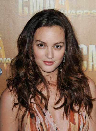 Leighton Meester Long, Tousled, Wavy, Brunette Hairstyle