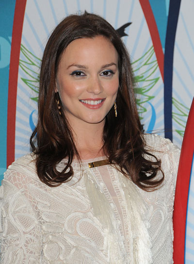 Leighton Meester Medium, Curly, Chic Hairstyle