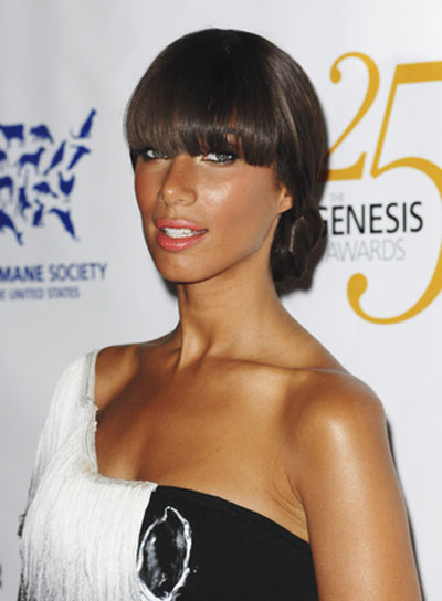 Leona Lewis Chic, Straight, Brunette Updo with Bangs
