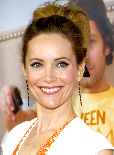 Leslie Mann's Blonde, Tousled, Party, Updo Hairstyle