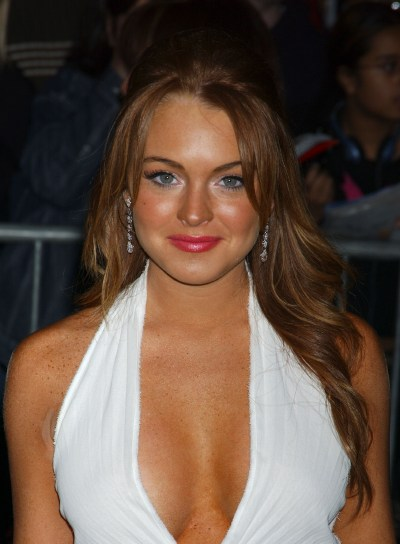 Lindsay Lohan Wavy Half Updo with Bangs