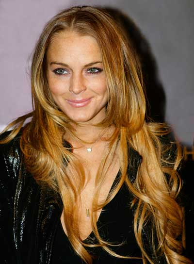 Lindsay Lohan Long, Tousled, Red Hairstyle with Highlights