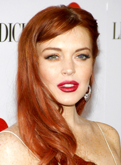 Lindsay Lohan's Long, Wavy, Red, Sophisticated, Hairstyle