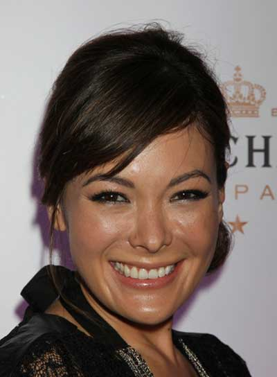 Lindsay Price Romantic, Straight, Brunette Updo with Bangs