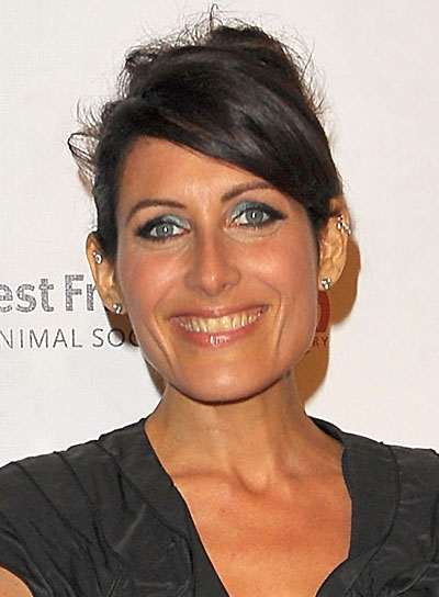 Lisa Edelstein Chic Brunette Updo with Bangs