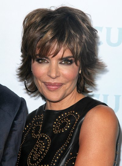 Lisa Rinna Short, Layered, Brunette Hairstyle with Bangs and Highlights