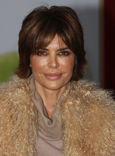 Lisa Rinna Short, Straight, Brunette Hairstyle with Highlights