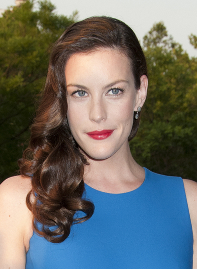 Liv Tyler Curly, Romantic, Sophisticated, Brunette Hairstyle