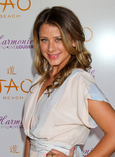 Lo Bosworth Romantic, Curly, Brunette Half Updo with Highlights