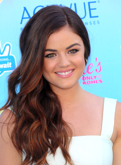 Lucy Hale's Long, Wavy, Brunette, Romantic Hairstyle