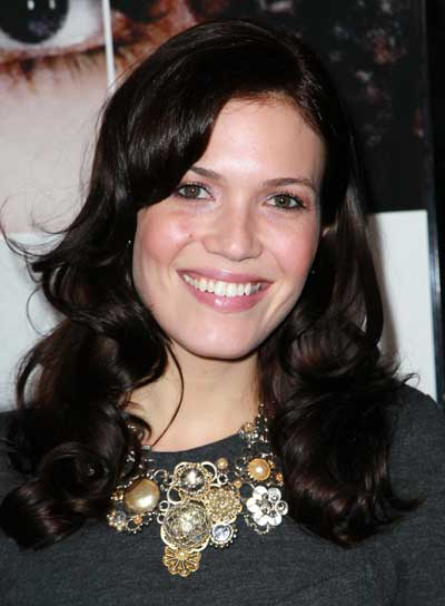 Mandy Moore Long, Curly, Brunette Hairstyle with Bangs