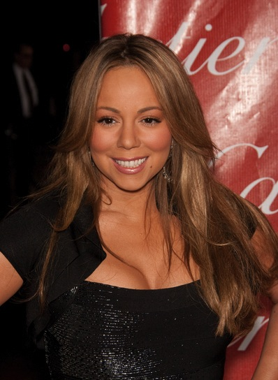 Mariah Carey Long, Layered, Straight, Brunette Hairstyle