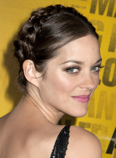 Marion Cotillard Sophisticated, Brunette Updo with Braids and Twists