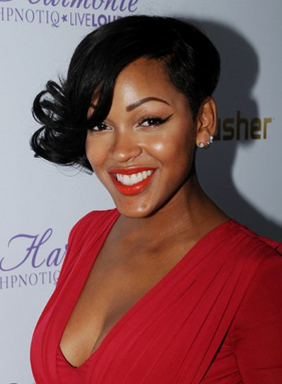 Meagan Good Short, Curly, Funky, Black Hairstyle with Bangs
