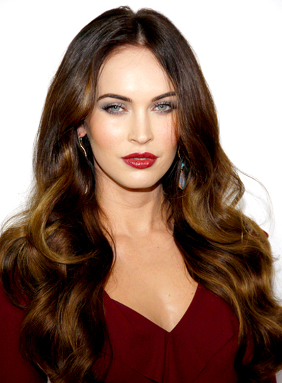 Megan Fox Long, Romantic, Wavy, Brunette Hairstyle