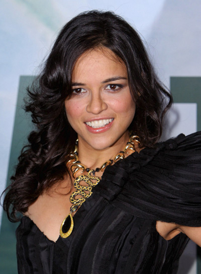 Michelle Rodriguez Sexy, Curly, Brunette Hairstyle