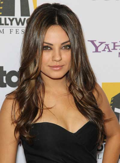 Mila Kunis Long, Sophisticated, Brunette Hairstyle
