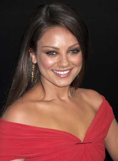 Mila Kunis Long, Straight, Brunette, Sophisticated Hairstyle