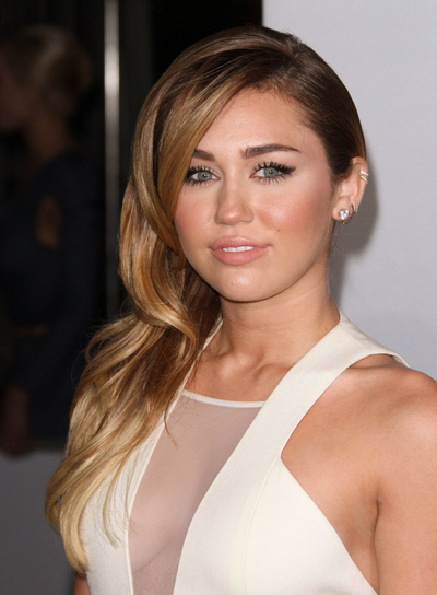Miley Cyrus Long, Curly, Romantic, Formal, Brunette Hairstyle with Highlights